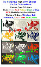 3M Reflective Fish Vinyl Stickers For Car or Home Decal -Single or Twin