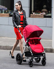 New 2 in 1 Baby Toddler Pram Stroller with Bassinet 4 Wheel Compact Black Red