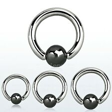 Captive Bead Ring Steel w/Hematite Plated Ball Helix Cartilage Nose Ears Tragus