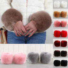 Pair Of Ladies Womens Girls Winter Warm Faux Rabbit Fur Fleece Wrist Cuff Band G