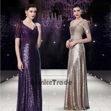 Sequins Short Sleeve Mother of the Bride Dresses Wedding Party Ball Evening Gown