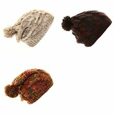 SKI HAT UNISEX CHUNKY CABLE KNIT BAGGIE BEANIE SLOUCH WINTER WOMENS MENS LADIES