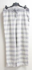 NWT Nautica Womens Frost Stripe Velour Pajamas Pants Sleepwear Grey E8004-B