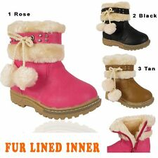 GIRLS FAUX FUR LINED POM POM  QUILTED KIDS INFANTS MID CALF WINTER BOOTS SHOES