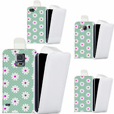pu leather flip case cover for majority Mobile phones - blue inviting daisy flip