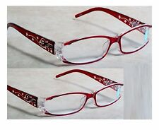 2 pairs Foster Grant Pink Glitter Stars Women's Reading Glasses  Spring hinges