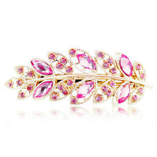 High Quality Women Hair Clip Leaf Crystal Rhinestone Barrette Hairpin Hair Band