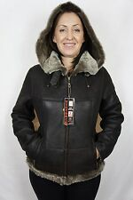 Brown 100% Sheepskin Shearling Leather Pilot Bomber Aviator Jacket Coat XS - 6XL