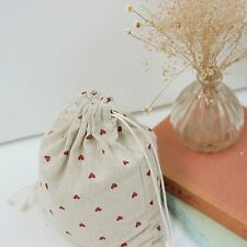 Draw String Cotton Linen Storage Bag Gift Bag Natural Color Red Love Heart C4 S#