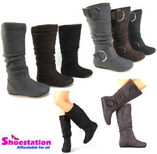 NEW Womens Fashion Boots Flat Mid-Calf Slouch Buckles Zip Shoes Booties Comfort