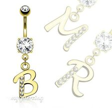 """14G-3/8"""" 14K Gold Plated 316L Surgical Steel CZ Initial Dangle Navel Ring Letter"""