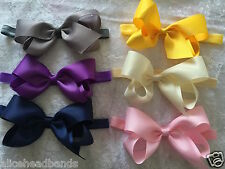 Big Bow Baby Girls Headbands Bow Soft Headbands Elastic Band 6 Inches Hair + Lot