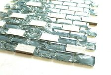 """Dark Blue Cleft Glass & Bianco Marble Mosaic Tile  Blue & White 1""""x2"""" Glass Tile"""