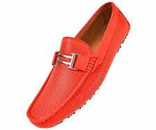 Amali Men's Red Driving Perforated Moccasin Loafer Style 1052 Red-005