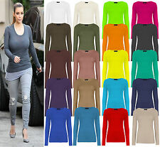 NEW Womens Long Sleeve Stretch Round Scoop Neck T Shirt Top Ladies Fitted Tee