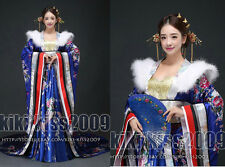 China Tang Dynasty Kimono Gown Han Fu Long Dress Flower Silk Red/Purple/Blue