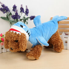 Shark Design Pet Dog Cat Clothes Jumpsuit Winter Puppy Costume Blue