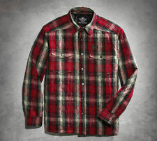 Men's Harley Davidson Quilted Red Plaid Shirt Jacket