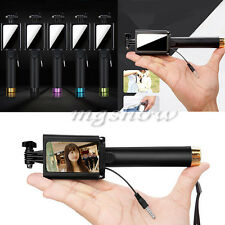Mirror Extendable Handheld Wired Bluetooth Monopod Selfie Stick for Smartphone
