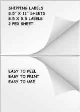 1200 SHIPPING LABELS/2 PER PAGE 8.5 x 11  HALF SHEET BLANK WHITE SHIPPING LABELS