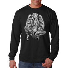 Sexy Marilyn Monroe Gangster Tattoo Angel Wings Movie Star Long Sleeve T-Shirt