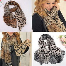 New Popular Women's Long Soft Wrap Shawl Silk Leopard Chiffon Scarf Shawl Plush