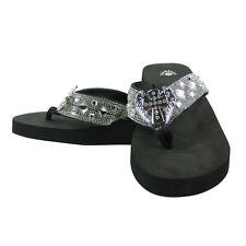 BLACK RHINESTONE CROSS WITH WINGS FASHION FLIP FLOPS ISABELLA SANDALS BRAND NEW