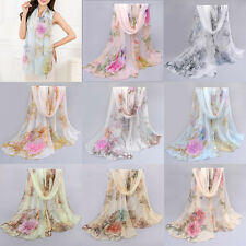 Women Chiffon Soft Scarves Floral Long Wraps Shawl Summer Beach Silk Scarf