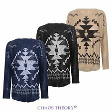 LADIES WOMENS HI LOW OVERSIZED LOOSE JUMPER GEOMETRIC AZTEC KNITTED ONE SIZE TOP