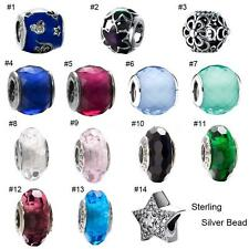 Colored Glass Charm Beads w/ 925 Sterling Silver Core Fit European Bracelet UL04