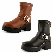 Ladies Chunky Cleated Sole Platform Womens Goth Punk Winter Ankle Boots Shoes