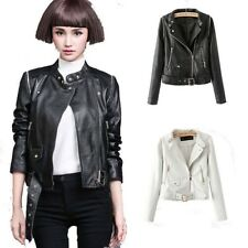 New Womens Black/White Zipper Faux Leather Motorcycle Biker Jacket Coat Vest