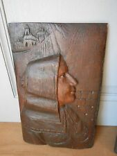 French Antique FOLK ART BRITTANY OAK CARVED  Panel Plaque BRETON LADY