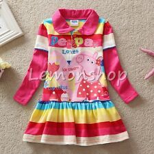 Toddlers Girl Long Sleeve Peppa Pig Holiday Dress Up Baby Outfits Clothing 18M-6