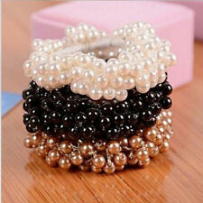 Delicate Womens Pearls Beads Hair Band Scrunchie Ponytail Elastic Hair Band