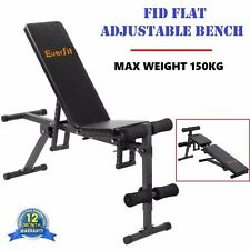 FID Flat Adjustable Bench Press Home Gym Exercise Muscles Abs Weight Lifting