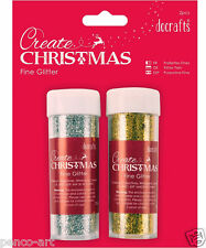 Docrafts 2 pk pots Create Christmas glitter choose gold & silver or red & green