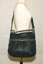 NWT KENNETH COLE  Black Pebbled Leather Gray Trim Hobo Handbag