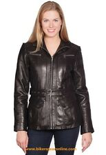 WOMEN'S BELTED FRONT ZIPPER BUTTER SOFT LEATHER JACKET NEW ZEALAND LAMB SKIN NEW