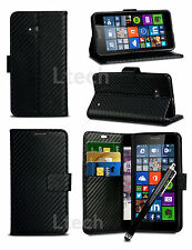 Carbon Fibre Style Black Wallet Flip Case for Various Phones & Stylus