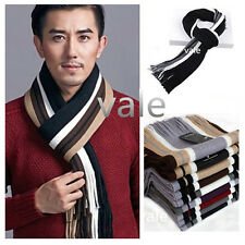 Warm Men's Scarf Knitted Striped Winter Autumn Hit Color Neck Wrap Shawl Scarves