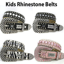 1137-Small Tween Girls Adult Small Belt Western Rhinestone Studded Bling Concho