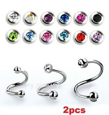 2PC. 18g, 16g, 14g Steel Double Gems Spiral Twister Ears Tragus Cartilage Labret