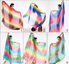 240cm*120cm Colorful silk veil belly dance hand thrown shawl scarf 6 colors