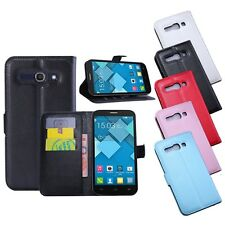 PU Leather Wallet Flip Case Cover Card Money Slot For Alcatel One Touch C3