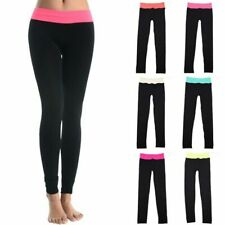 Seamless Contrast Color Waistband Full Length Leggings Casual Poly ONE SIZE