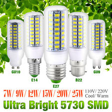 Bright E27 B22 GU10 E14 G9 5730 SMD LED Corn Bulb Lamp Light White AC 110V/220V