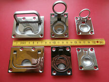 Marine Stainless Square & Round Lifting Pull Ring. Hatch handle. Flush Fitting.