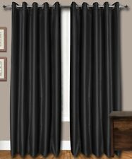 "Black Faux Silk Curtains, 51"" (130 cm) Wide - Choice of  Top, Length & Linings"