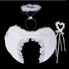 2 Colors 3Pcs Kid Feather Angel Fairy Wings Wand Halo Stage Show Fancy Dress M55